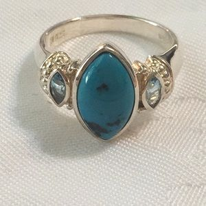 Turquoise &  Blue Topaz Silver Ring